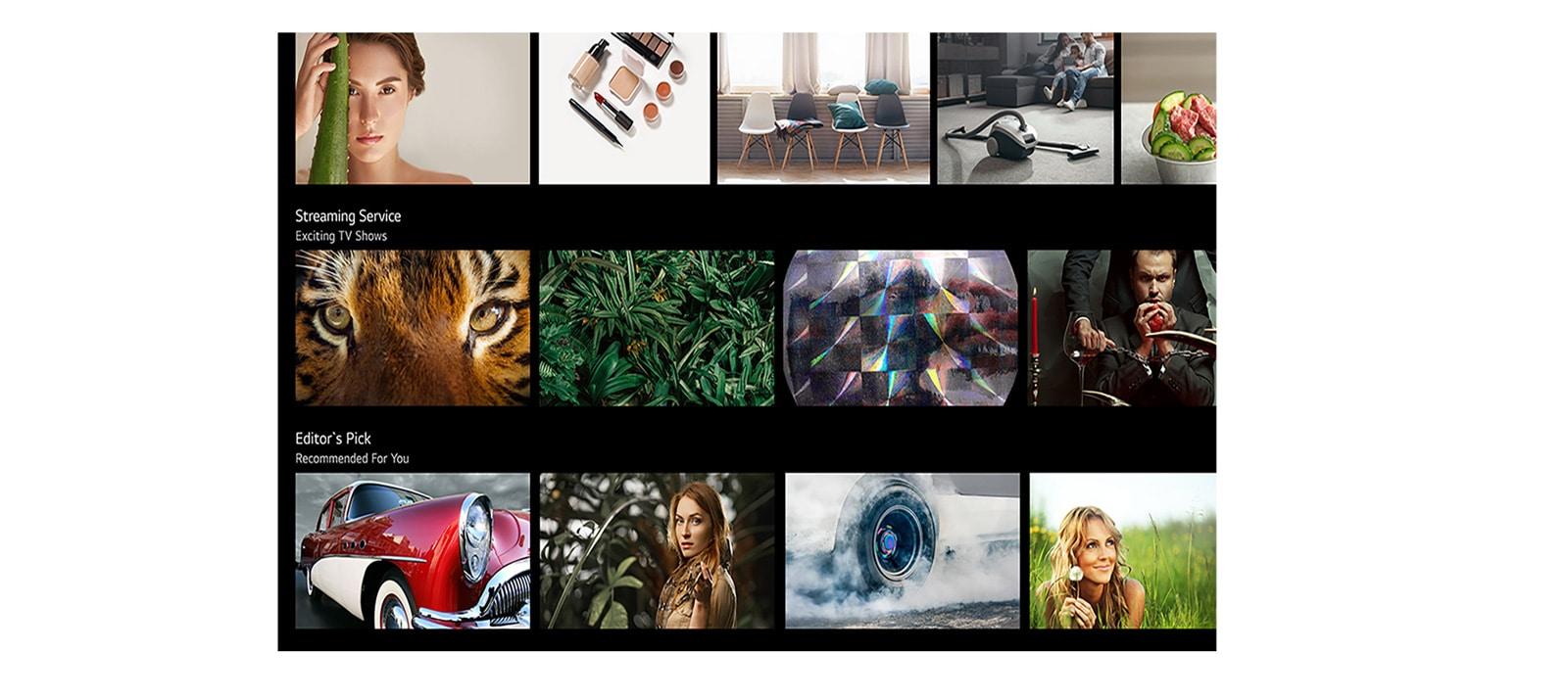 Sullo schermo del televisore vengono visualizzati vari contenuti come suggerito dall'IA di LG ThinQ.