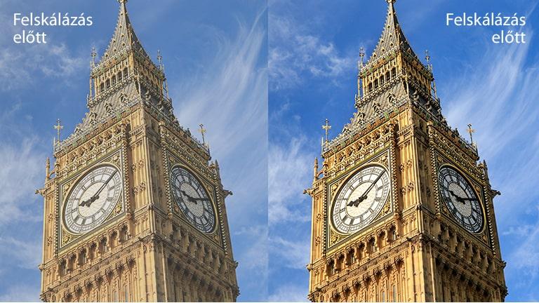 """A Big Ben képe a jobb oldalon a """"Felskálázás után"""" szöveggel jelölt kép élénkebb és tisztább, mint ugyanannak a képnek a bal oldalon, a """"Felskálázás előtt"""" szöveggel jelölt változata."""