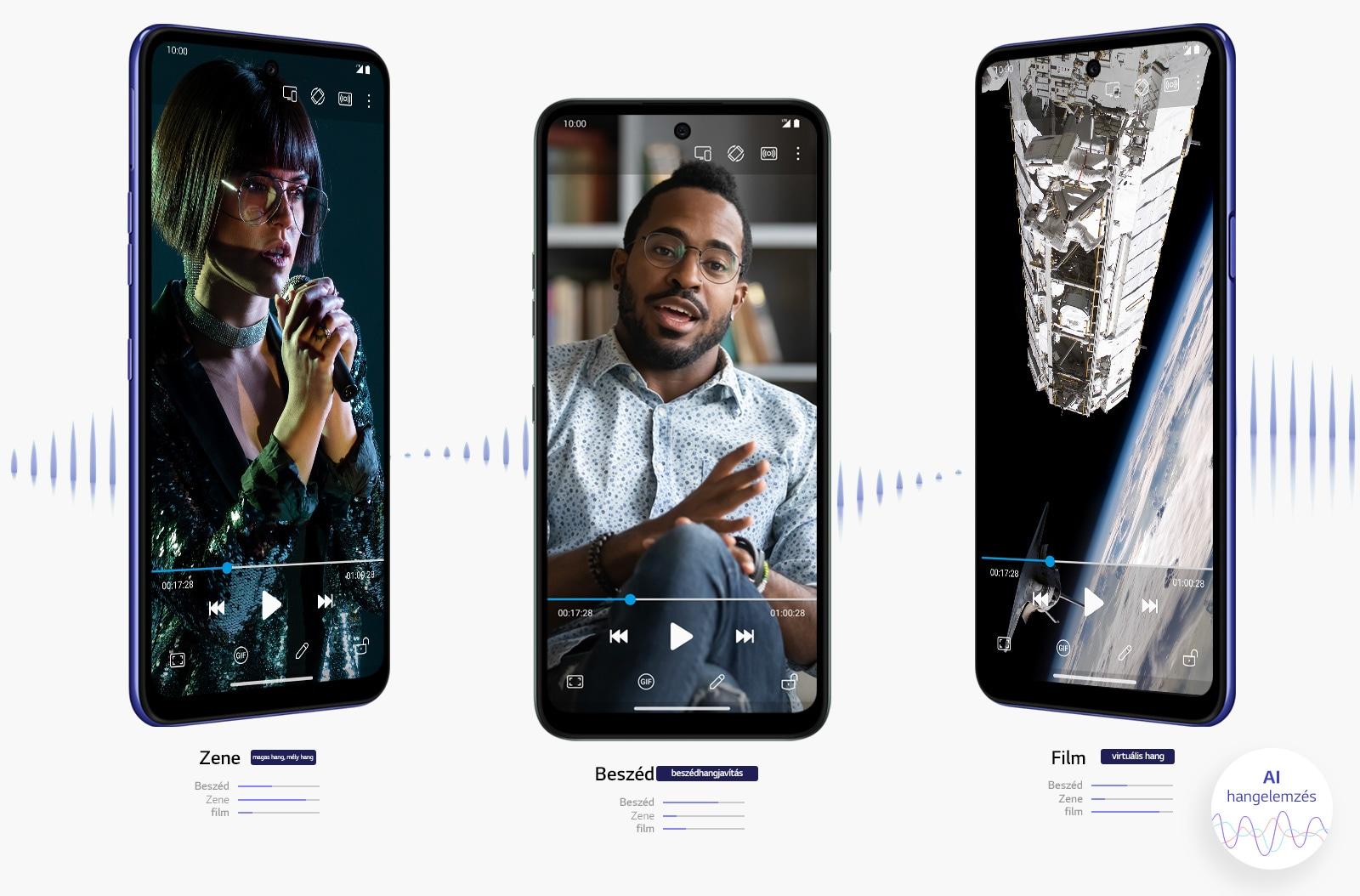 Három telefon, amelyek filmet, zenét és videót játszanak le.