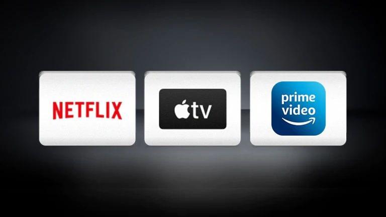 A Netflix logó, az Apple TV logó és az Amazon Prime Video vízszintesen elrendezve fekete háttérrel.