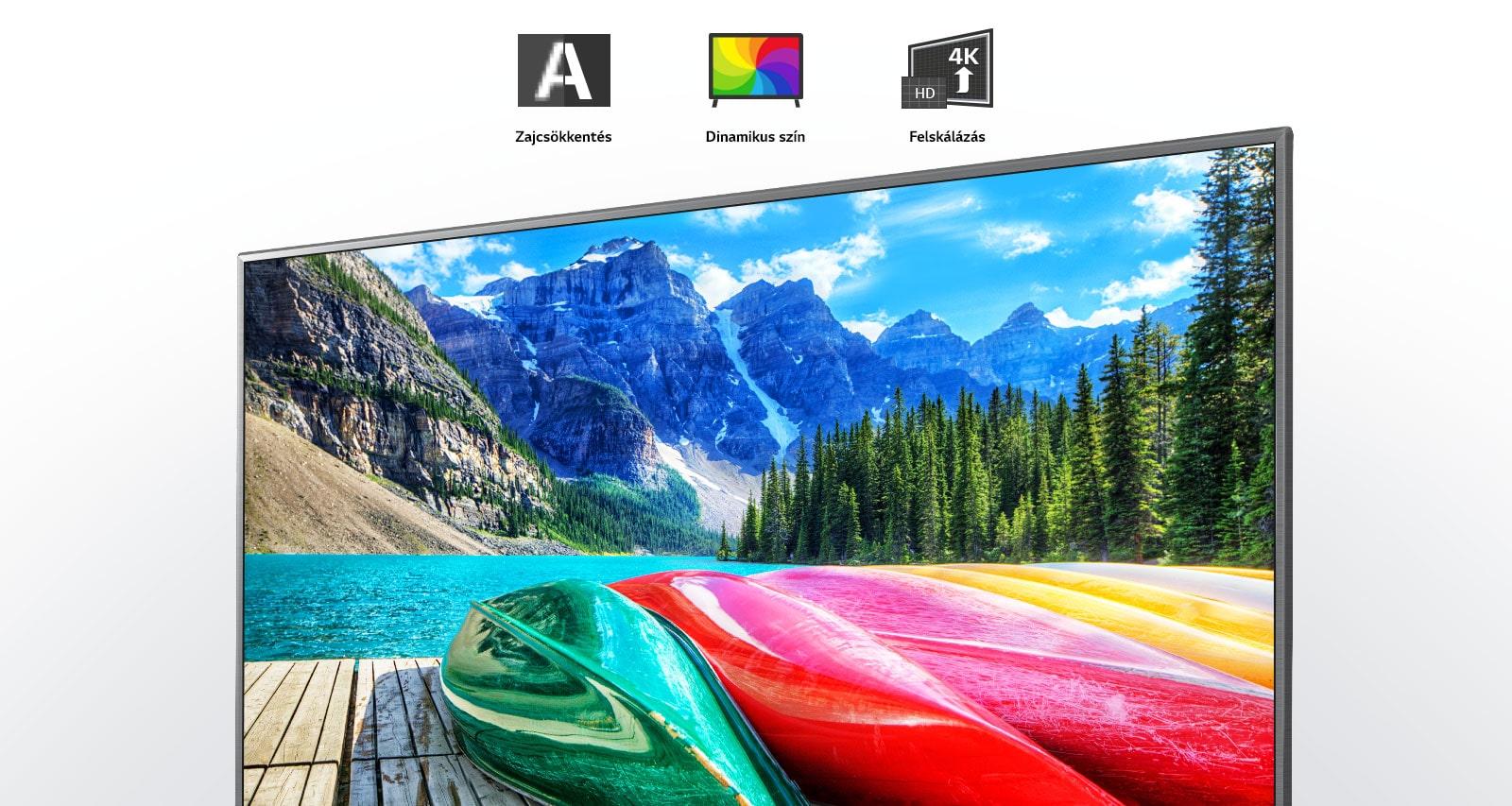 Zajcsökkentés, dinamikus színek és felskálázási ikonok, valamint hegyes, erdős és tavas tájkép a TV képernyőjén.