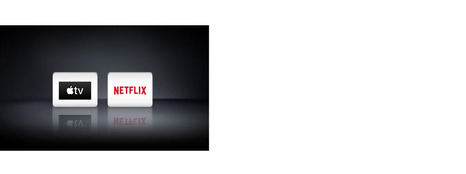 Két alkalmazás logója, balról jobbra haladva ezek: Apple TV alkalmazás, Netflix