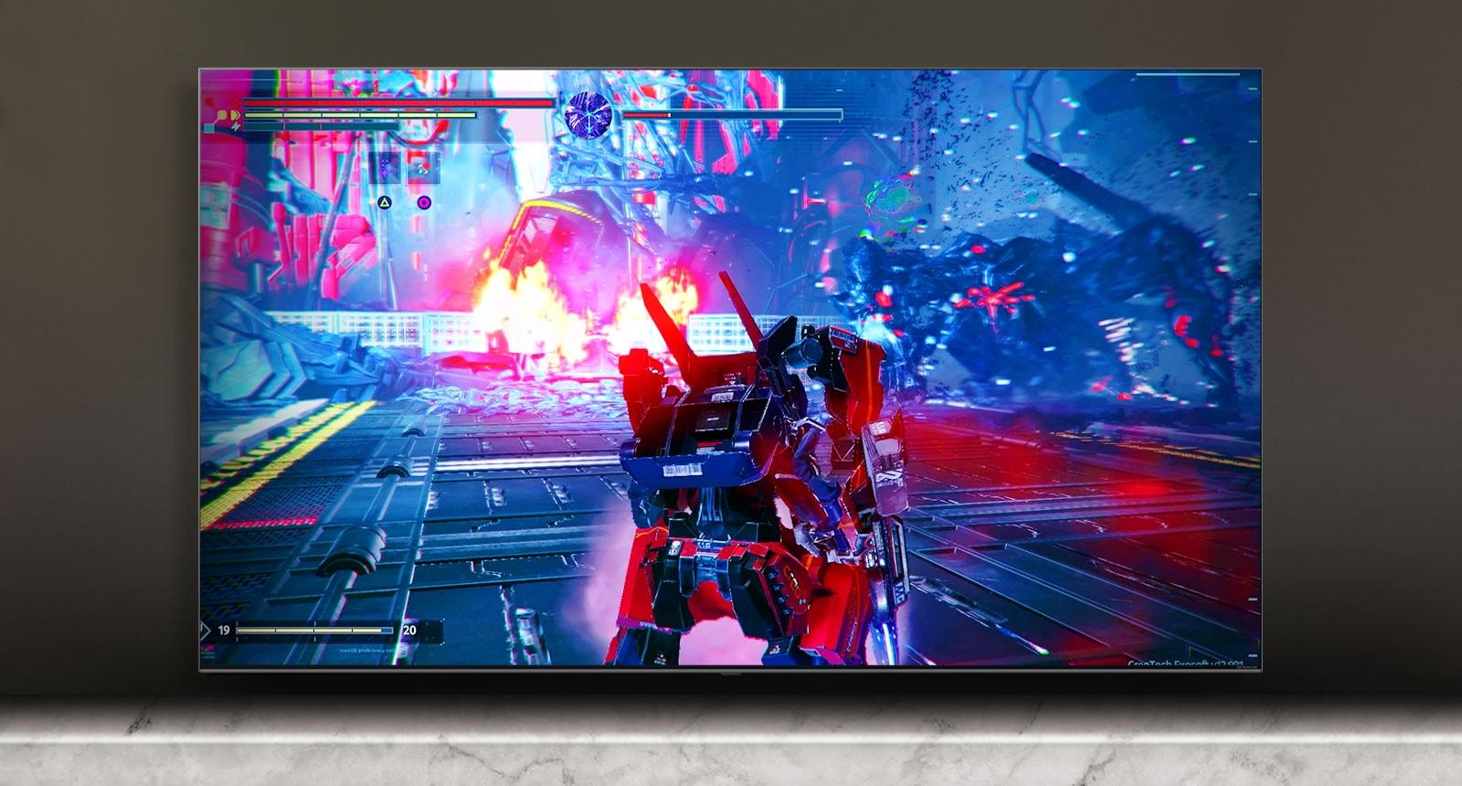 A TV képernyőjén egy harci játék jelenete látható.