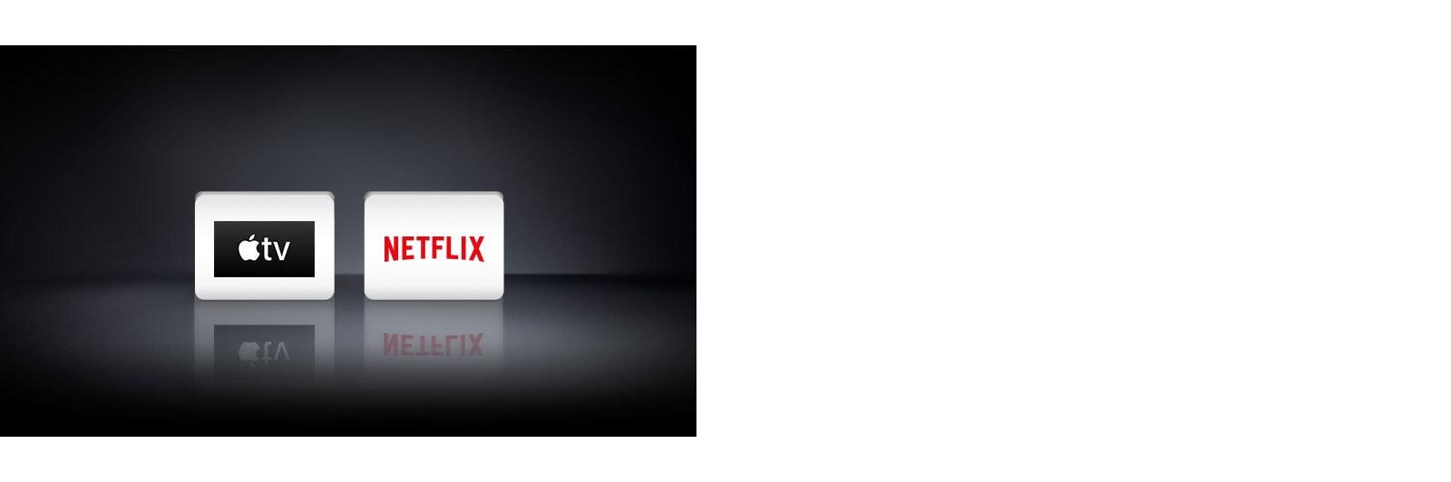 Dva logotipa: aplikacija Apple TV, Netflix