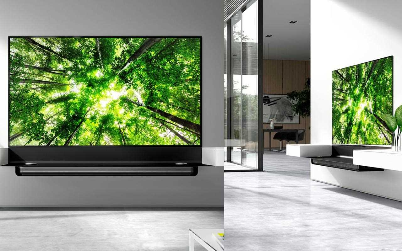 An image of LG OLED TV with Spectral tv furniture to present innovative technology meet seamless design.