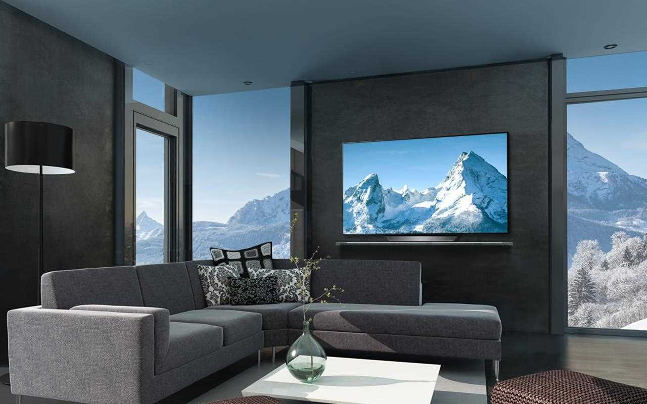An image of lg oled tv in a modern living room presentation breathtaking picture quality.