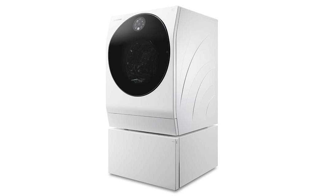 A right perspective view of lg signature twin wash washing machine
