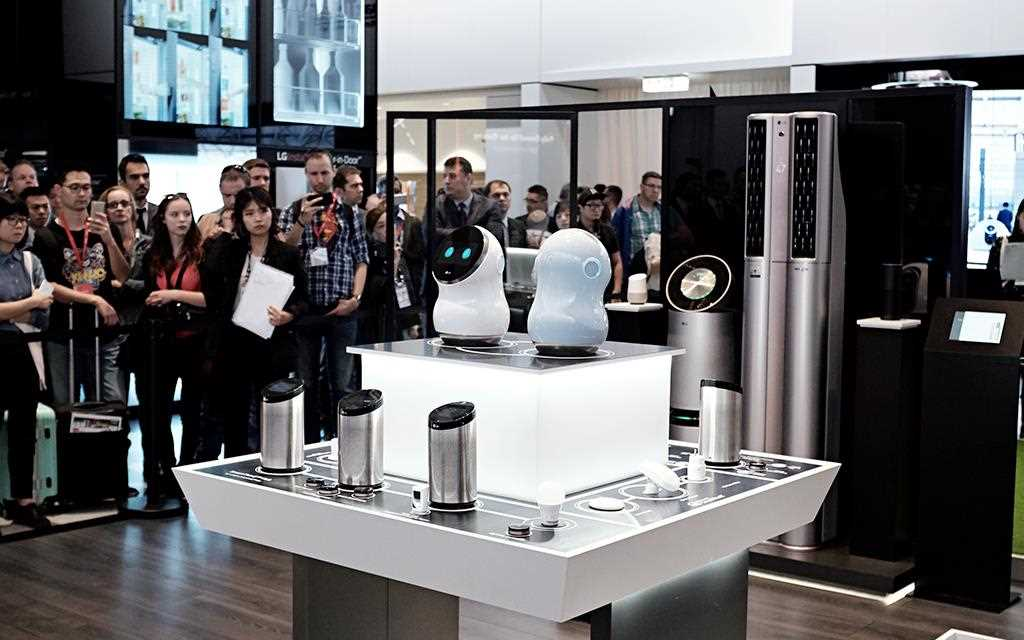 A photo of lg IoT zone displaying hub robot devices at berlin ifa 2017.