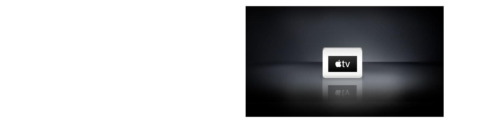 Logo Apple TV tersusun secara horizontal dengan latar belakang hitam.