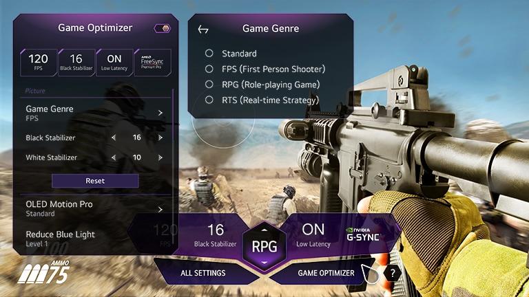 Sebuah layar sedang menayangkan adegan game yaitu seorang pria memegang pistol di tengah perang dalam pandangan orang pertama. Pada adegan tersebut ada dasbor game yang muncul. Tampilan pengoptimal game muncul saat tombol pengoptimal game diklik di dasbor game.