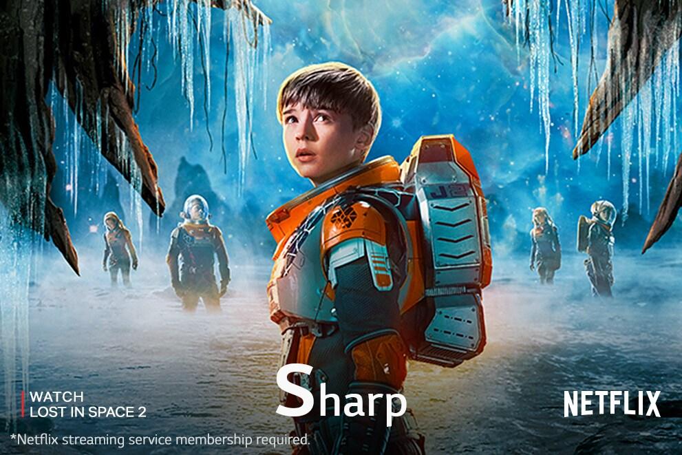 """Sebuah adegan dari film Lost in Space 2, yang diberi label """"Sharp"""""""
