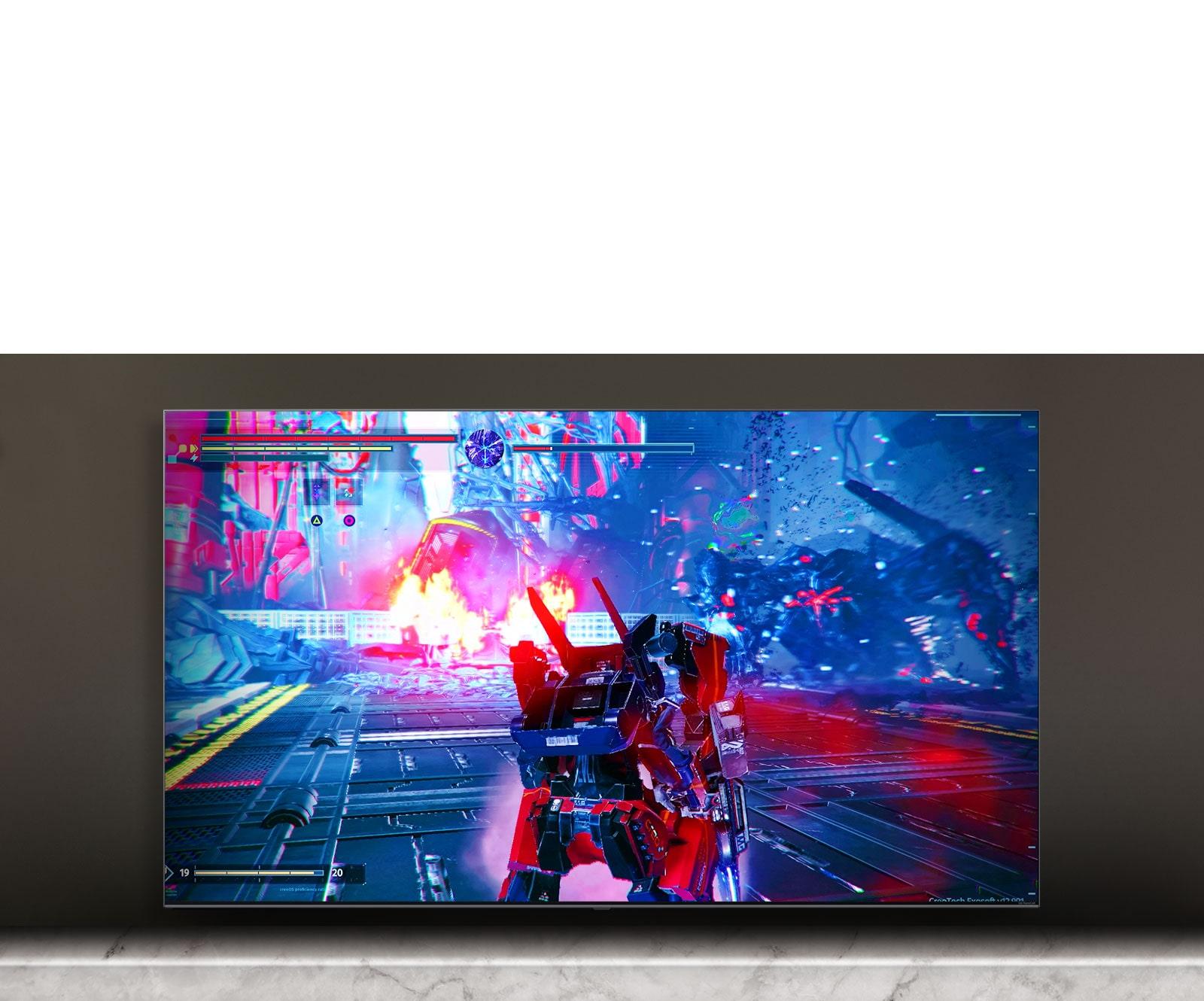Layar TV menampilkan adegan game peperangan