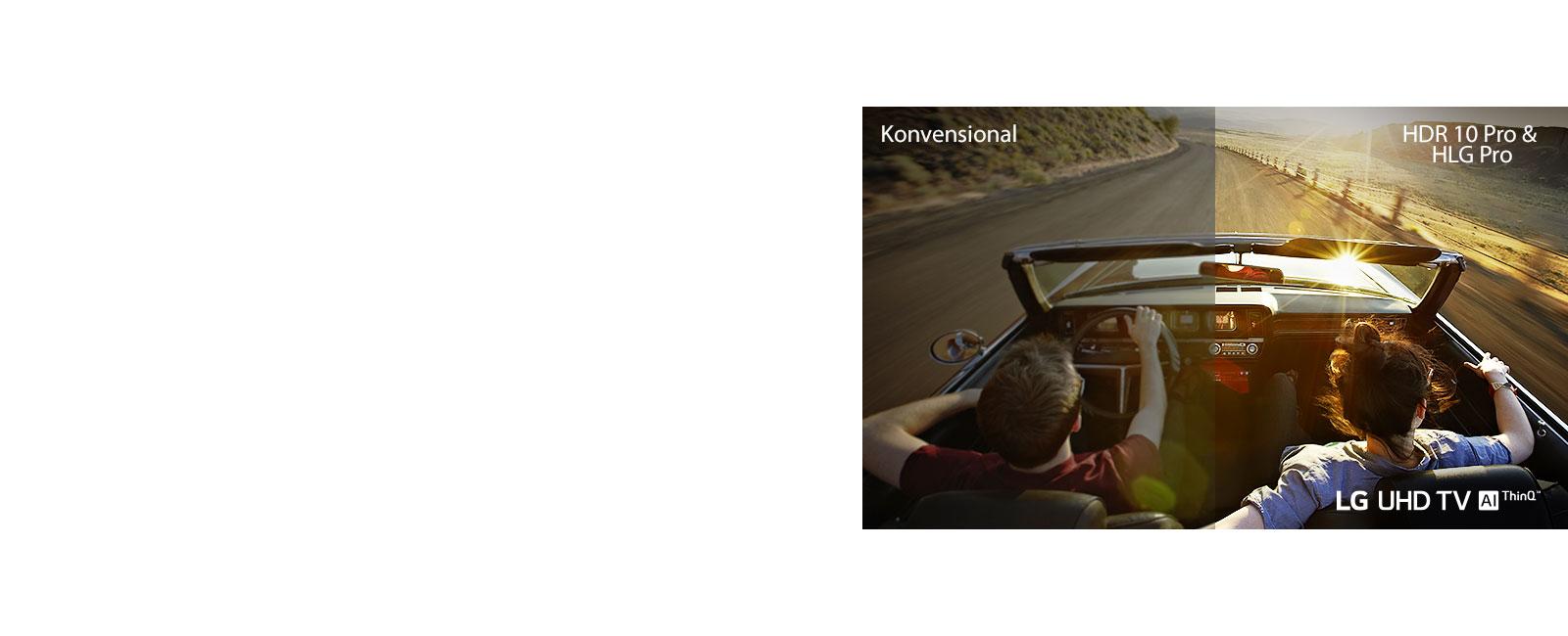 Satu pasangan mengendarai mobil di sebuah jalan. Separuhnya ditampilkan di layar biasa dengan kualitas gambar buruk. Separuh lainnya ditampilkan dengan kualitas gambar TV UHD LG yang tajam dan cerah.