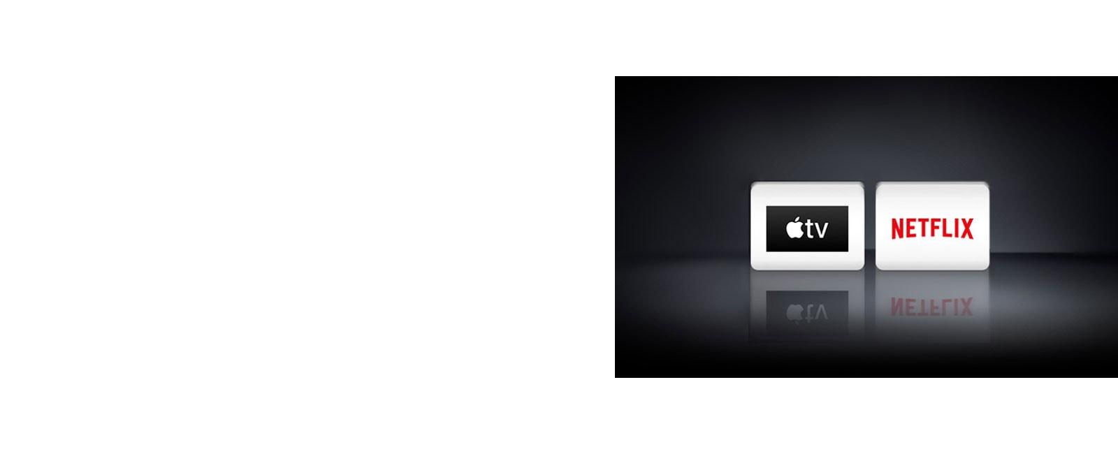 Tiga logo aplikasi ditampilkan dari kiri ke kanan: Apple TV dan Netflix.