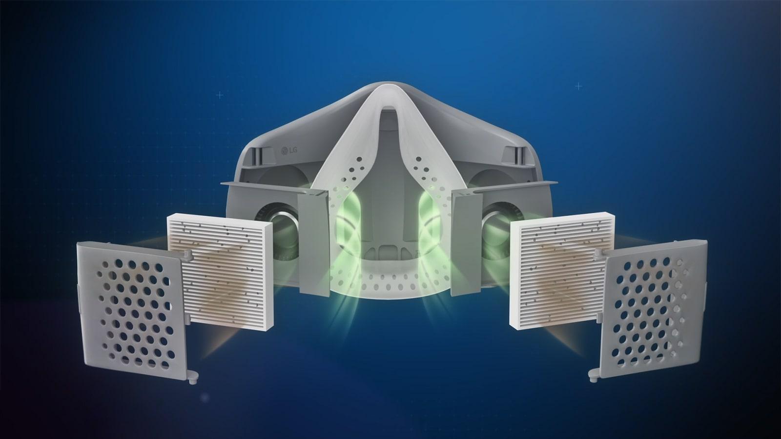 Sebuah video memperlihatkan LG PuriCare Wearable Air Purifier dari bagian depan dan beralih pada bagian samping yang terdapat HEPA filter dan kemudian bagian luar terlihat membesar untuk menunjukkan bagaimana pergerakan udara melalui setiap bagian menuju filter sehingga memerangkap partikulat dan debu didalam masker supaya tak menyentuh penggunanya