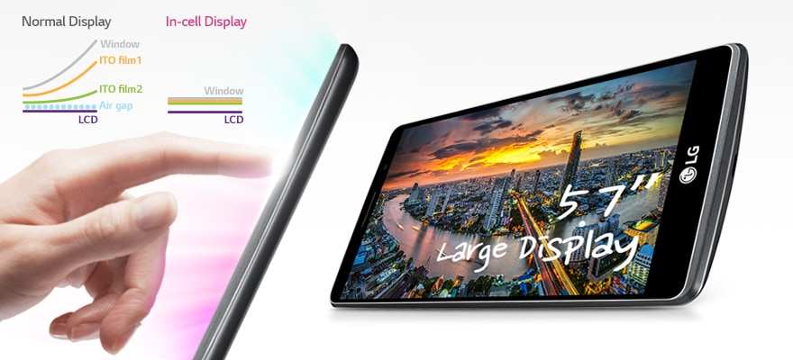 "Zero-gap in-cell Hybrid Touch with 5.7"" HD Screen"