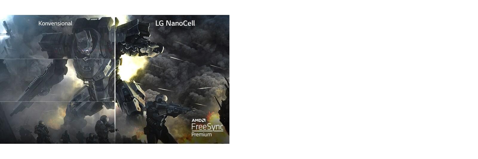 Adegan sebuah game tertampil pada TV konvensional dengan gambar tampak pecah dan setengah gambar lainnya tertampil pada LG NanoCell TV tanpa distorsi gambar pecah.