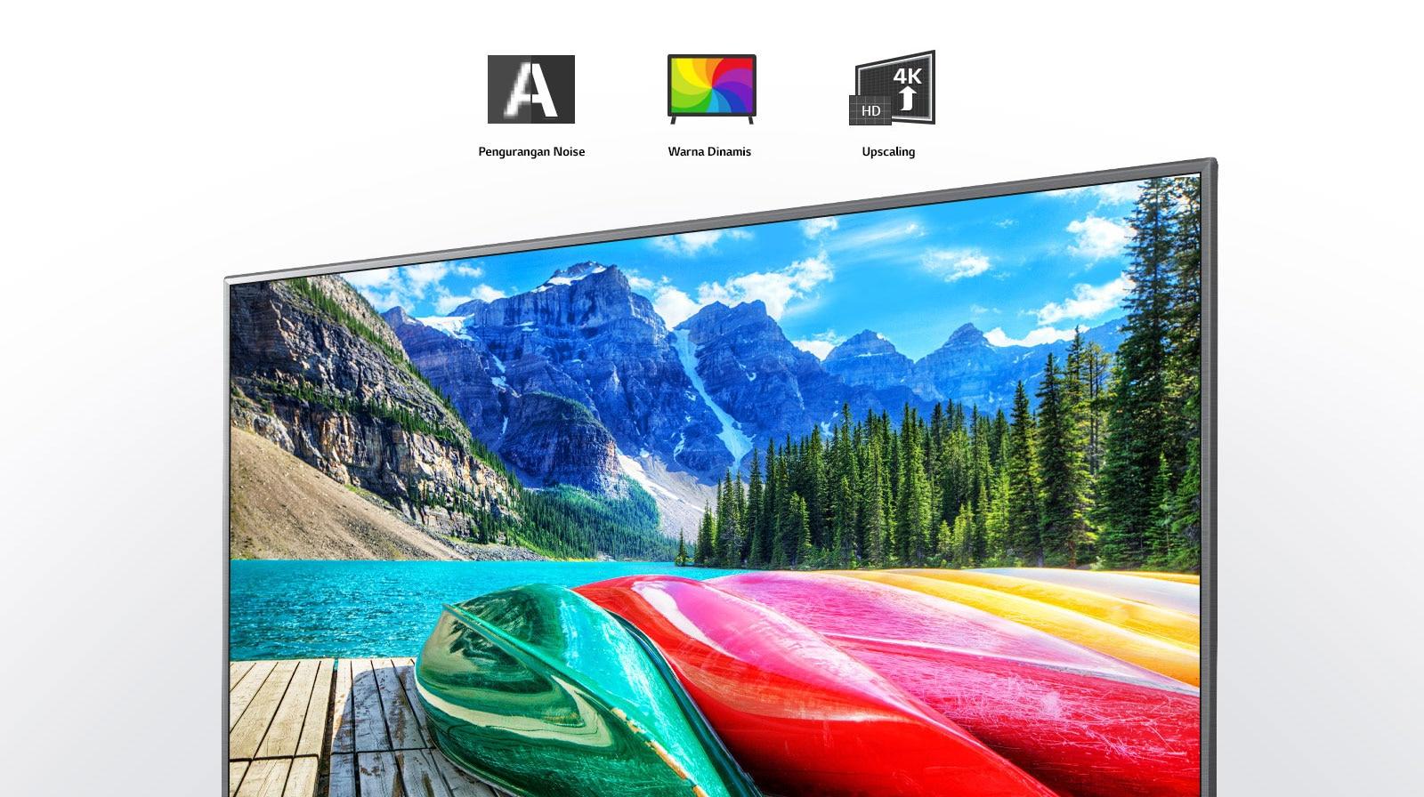 Ikon pengurangan noise, warna dinamis dan peningkatan gambar beserta layar TV yang menampilkan pemandangan gunung, hutan dan danau.