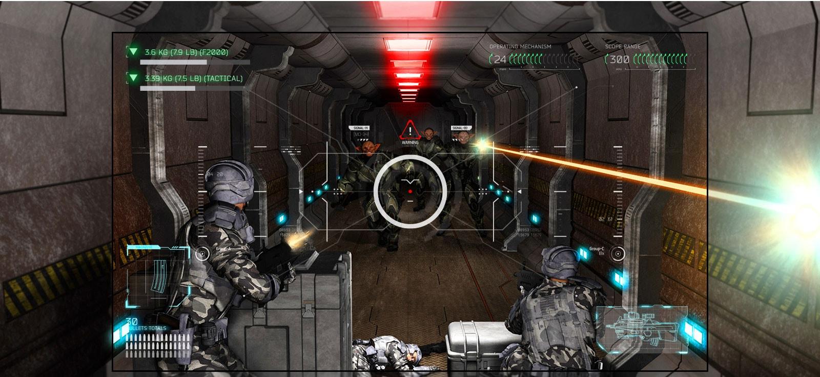 TV menampilkan adegan game menembak dengan pemain kalah dari alien bersenjata.