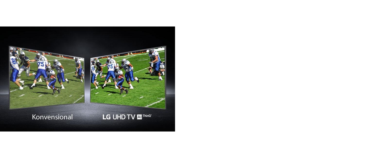 Gambar seorang pemain di lapangan football ditunjukkan dalam beberapa tampilan. Satu gambar ditampilkan di layar TV konvensional dan satu gambar ditampilkan di TV UHD.