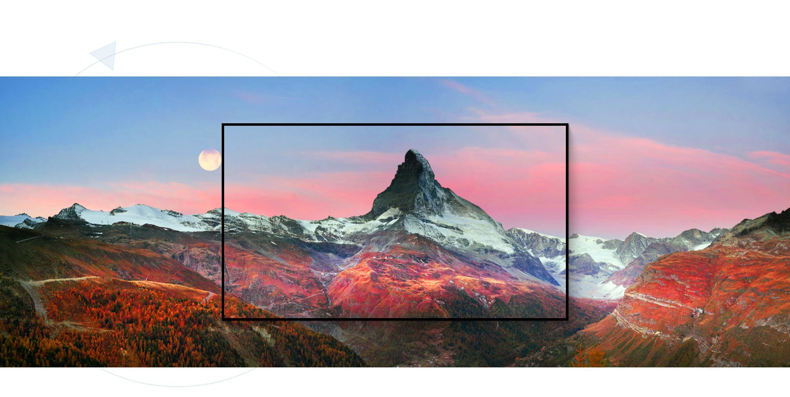 מסגרת הלוכדת נוף של הר מדהים ביופיו (הפעילו את הסרטון)