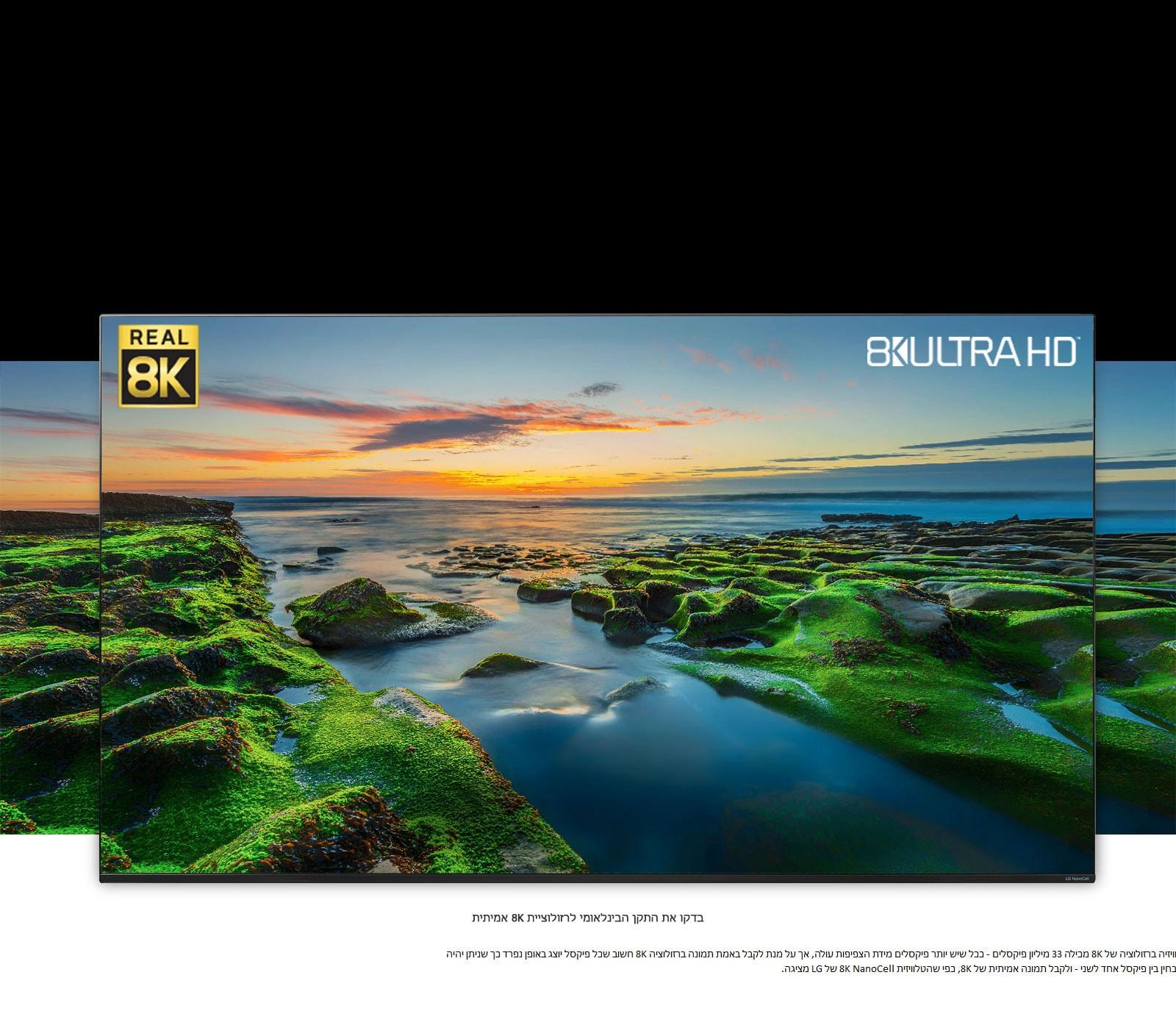 מסך טלוויזיה המציג תמונת נוף רחבה עם סמלי 'איגוד יצרני הטכנולוגיה לצרכן' (CTA) ורזולוציית 8K אמיתית