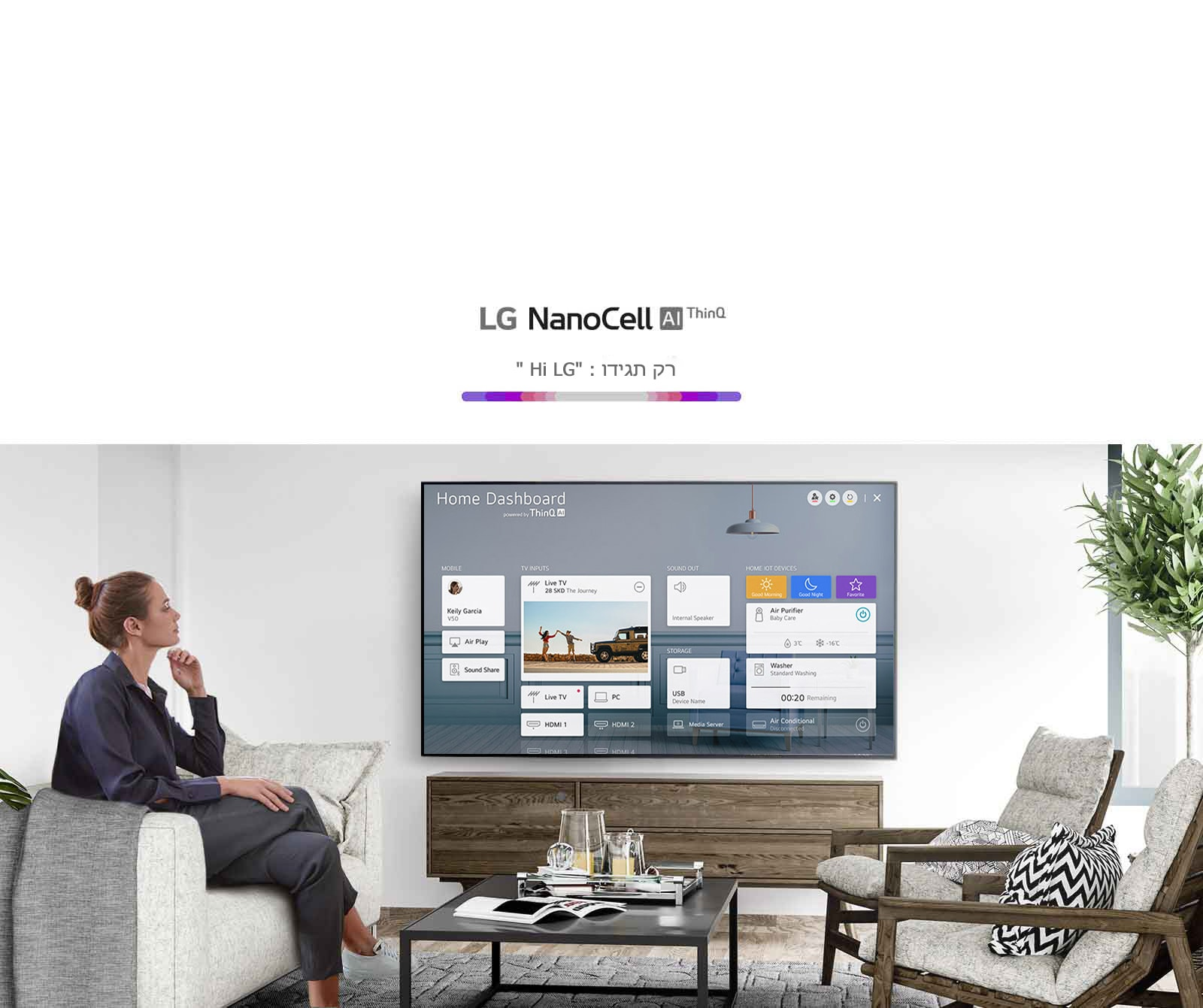אשה יושבת על ספה בסלון כשעל מסך הטלוויזיה נראה לוח המחוונים הביתי
