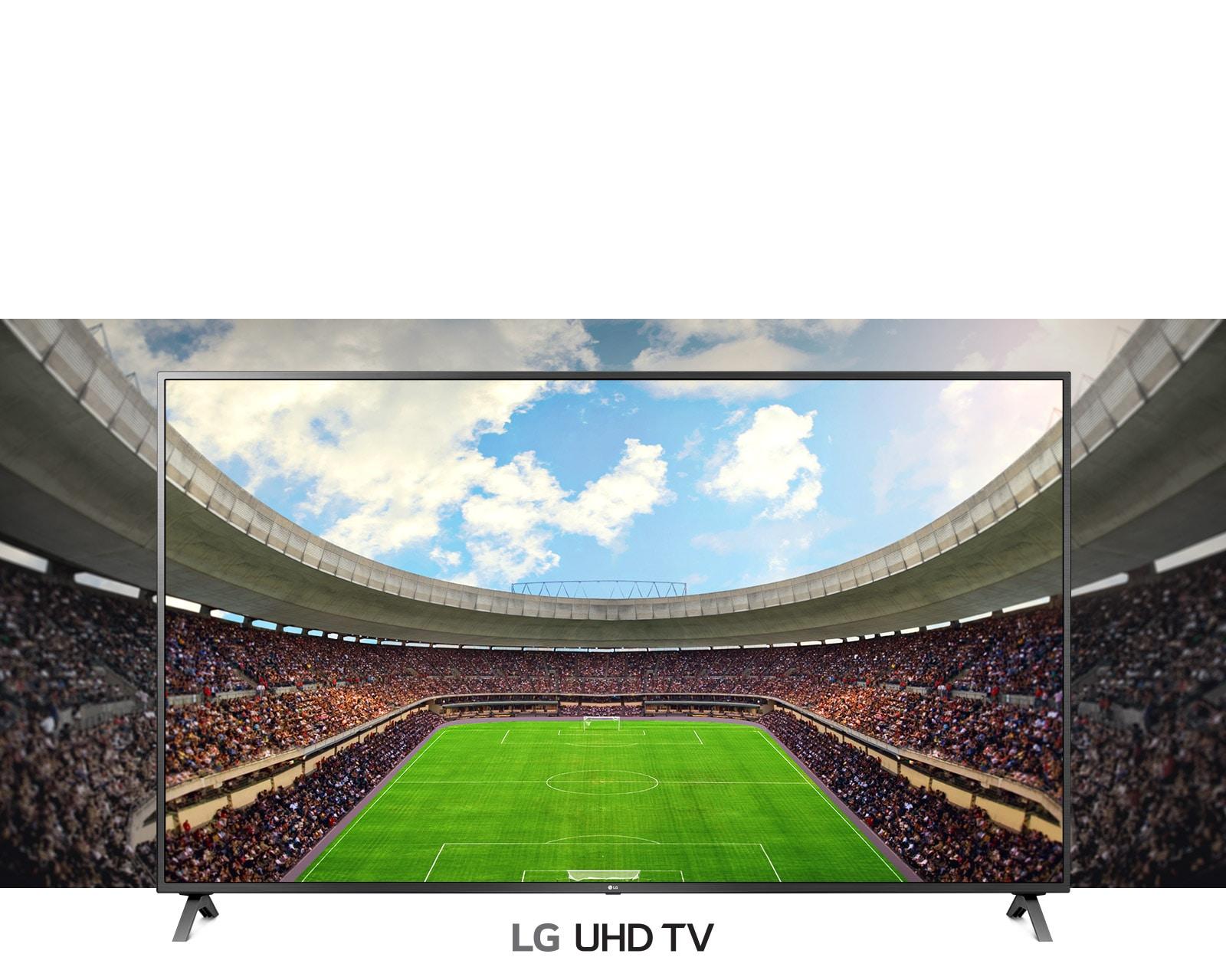 בתוך מסגרת של טלוויזיה, מבט פנורמי על אצטדיון כדורגל מלא בצופים.
