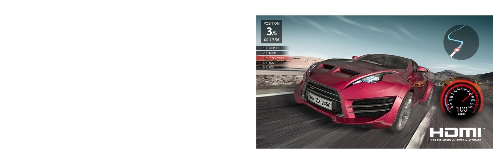 סצנה ממשחק מרוץ מכוניות. מבט תקריב על מכונית אדומה שמדורגת במקום השלישי.