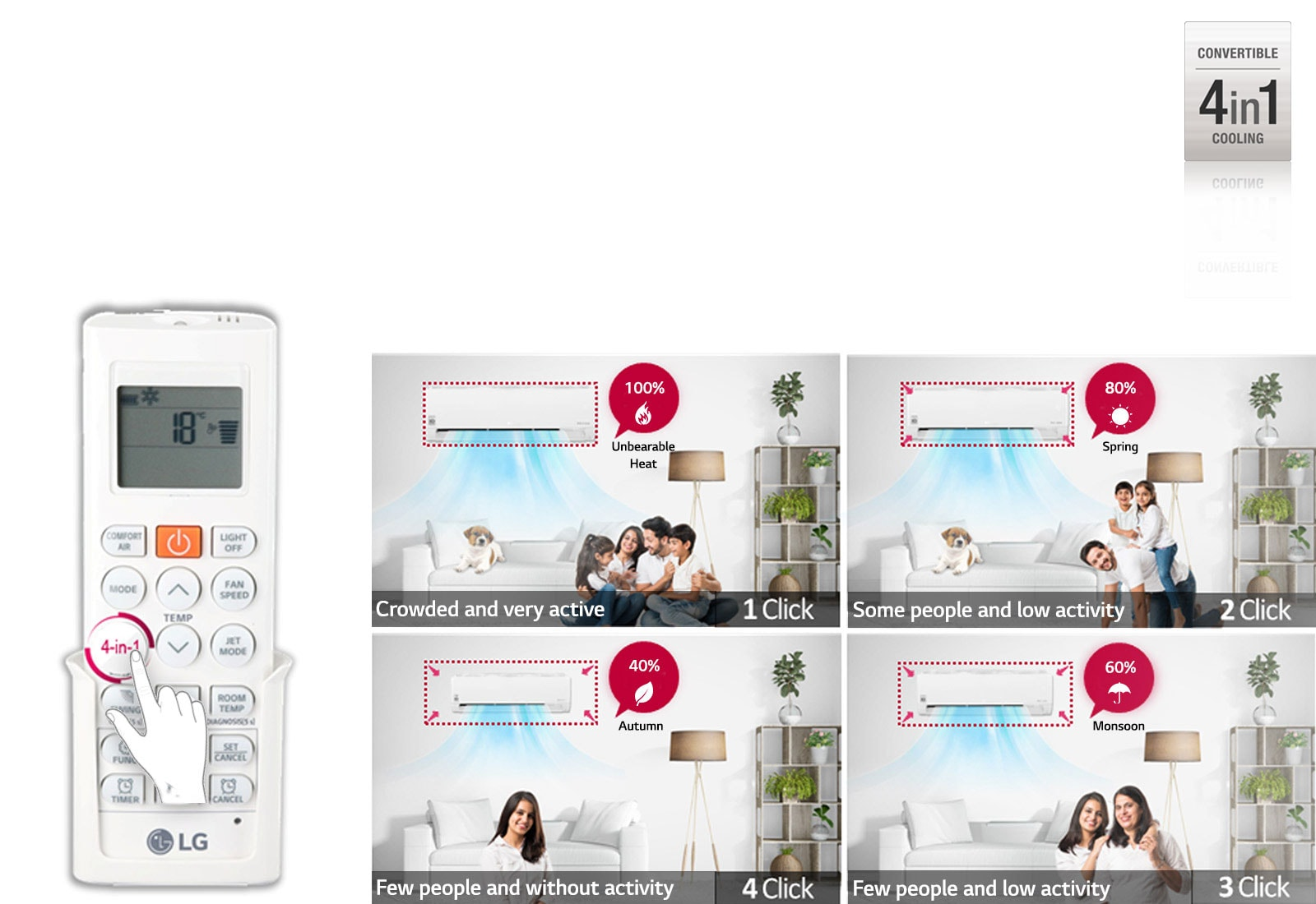 LG LS-Q18CNZD 4 in 1 convertible cooling