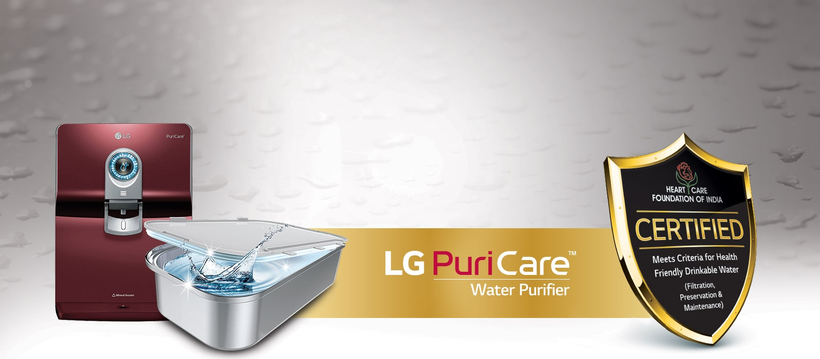 health care of India certification for LG water purifier