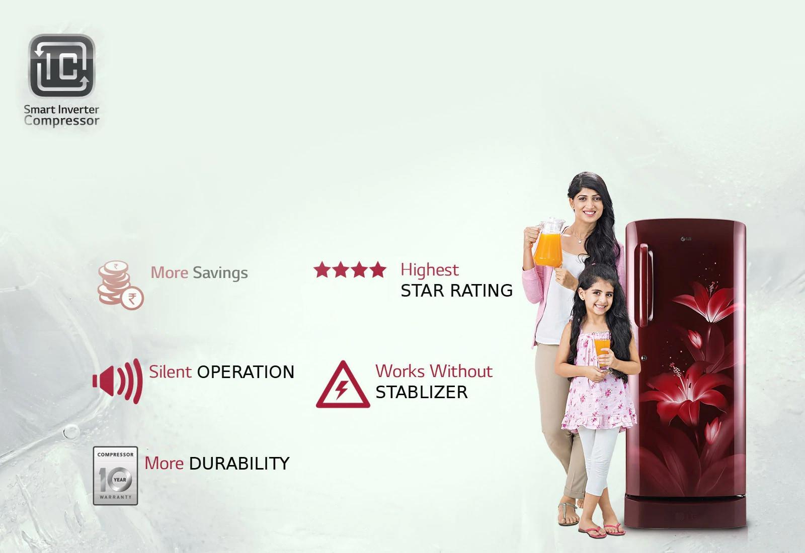 LG GL-B281BBCX 270 ltr smart invertor compressor