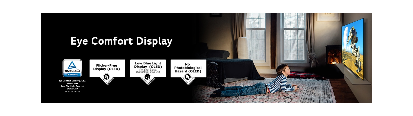 "A side view of a boy laying down and watching a TV, labeled ""Eye Comfort Display"""