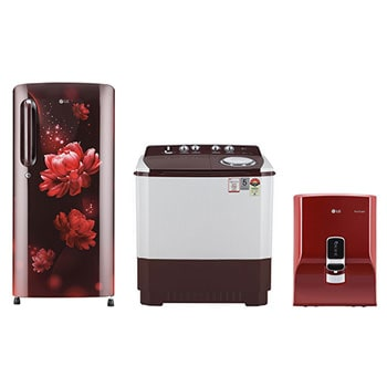 190 L Single Door Refrigerator, + 8 Kg, Semi-Automatic Washing Machine + 8 L, RO+STS (Mineral Booster) Water Purifier1