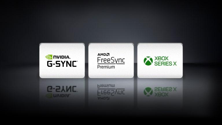 The NVIDIA G-SYNC logo, the AMD FreeSync logo, and the XBOX SEREIS X logo are arranged horizontally in the black background.