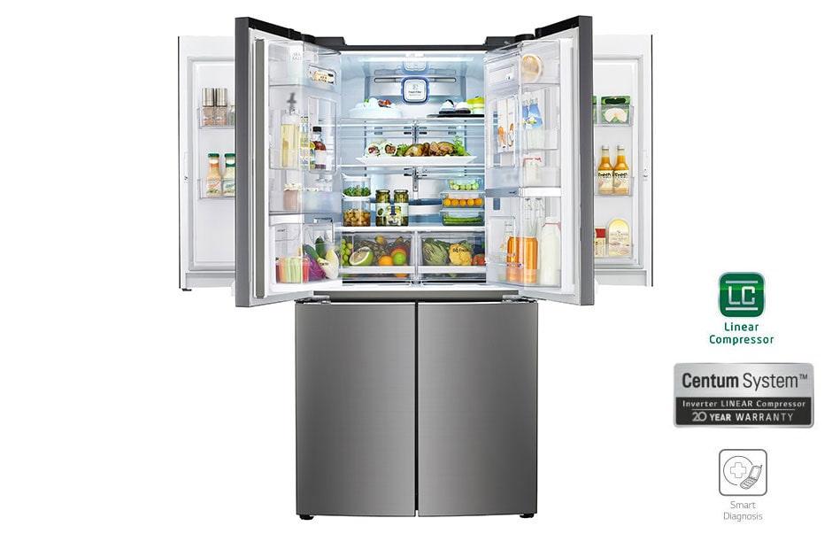 frigorifero 6 porte centum system gmd916sbhz lg italia. Black Bedroom Furniture Sets. Home Design Ideas