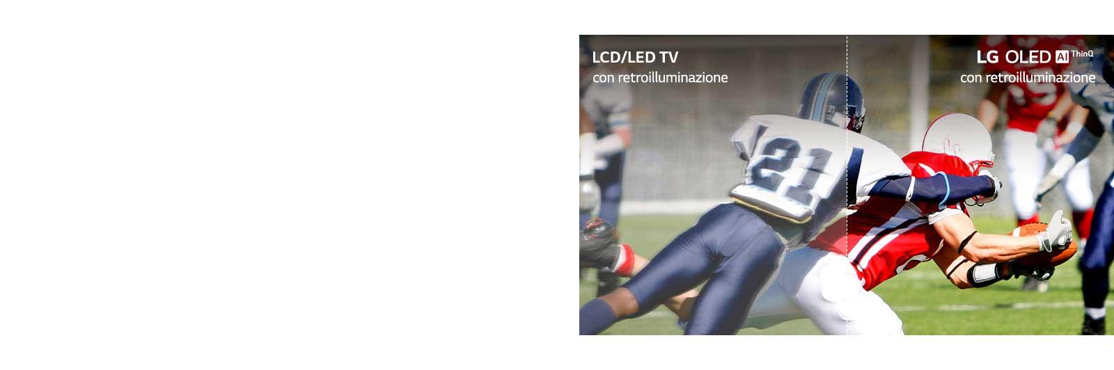Sequenza di una partita di calcio: una metà è riprodotta su un TV LCD/LED con qualità delle immagini sfocata, mentre l'altra è riprodotta su un TV LG OLED con qualità delle immagini nitida.