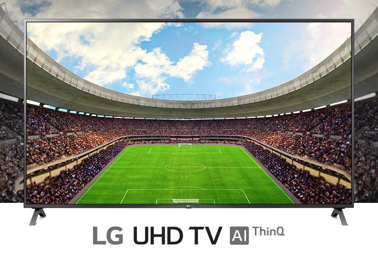 Vista panoramica di uno stadio da calcio pieno di spettatori mostrato all'interno di un TV.