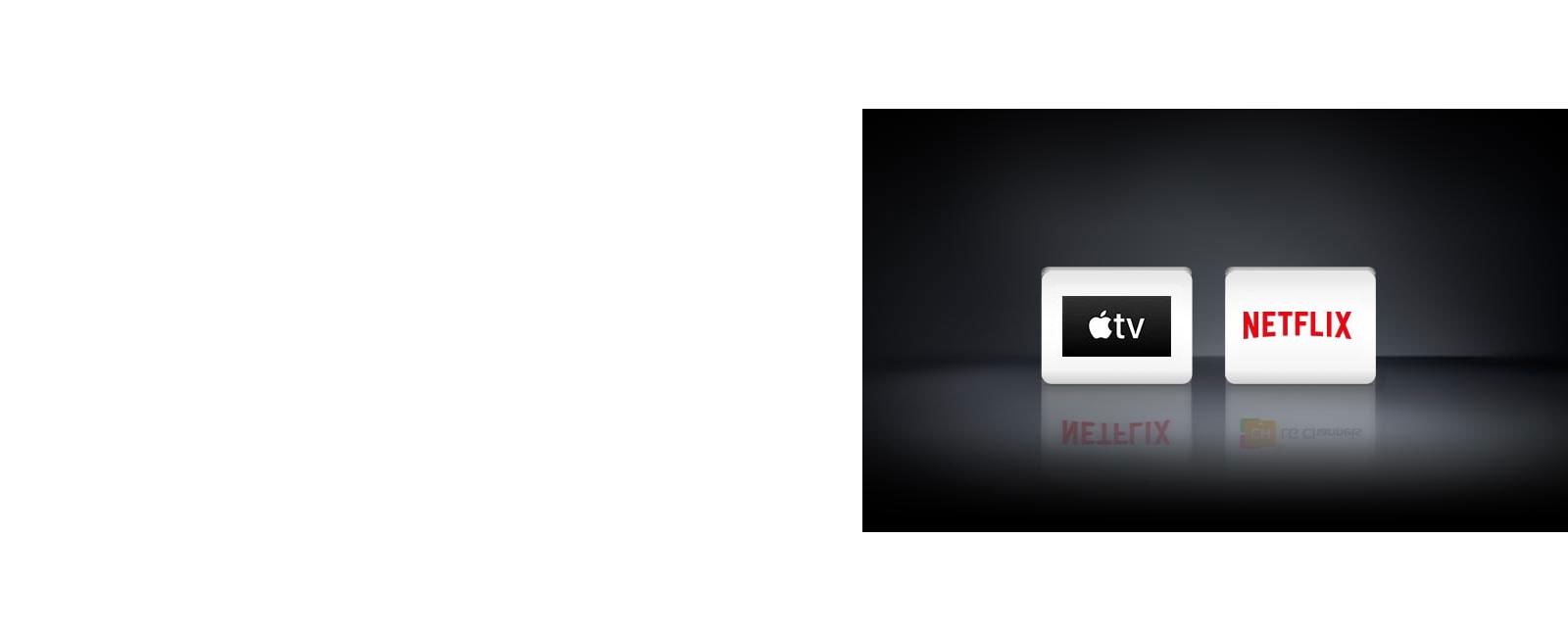 Two logos: The Apple TV app, Netflix