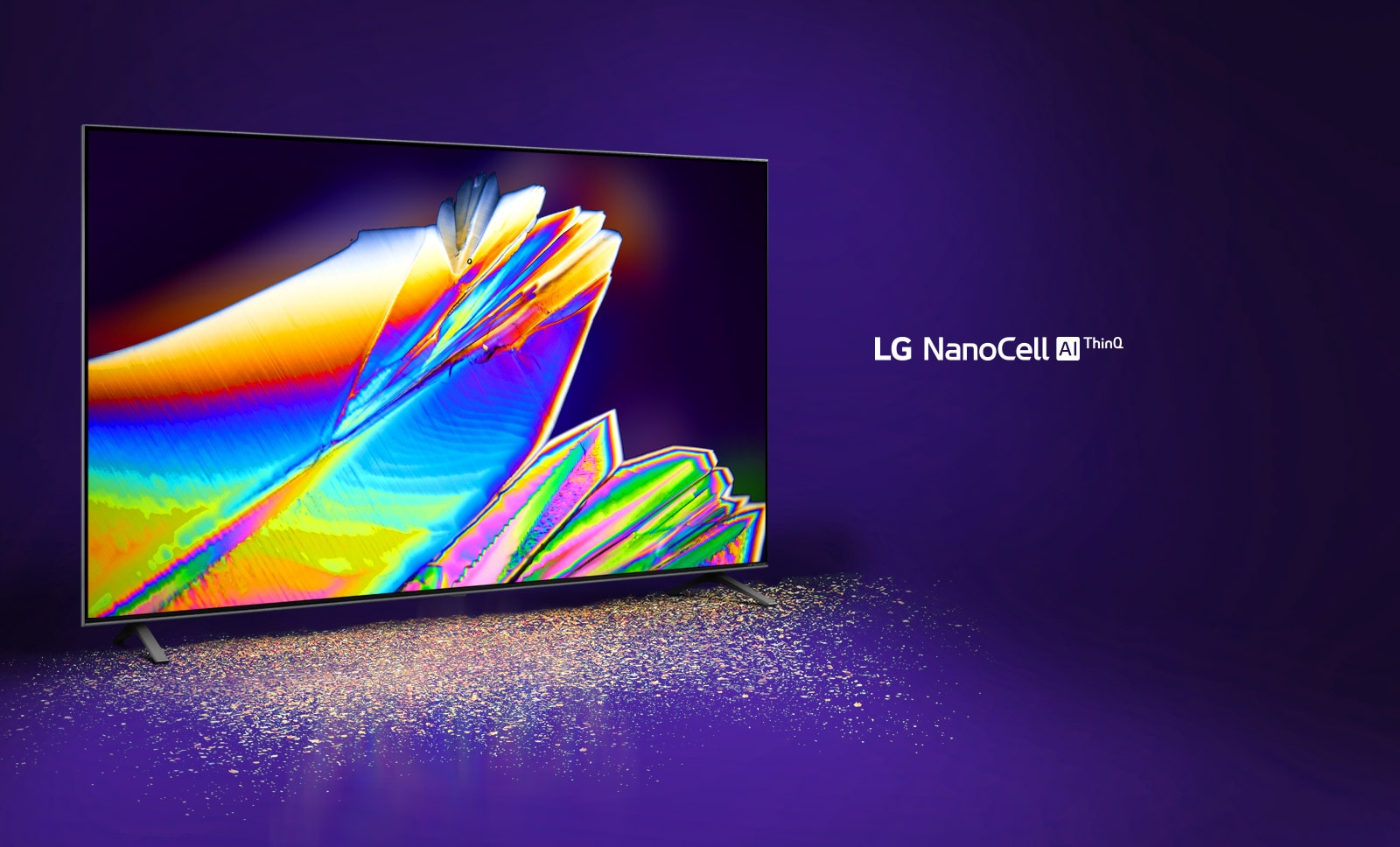 The image of micro leaves on the TV screen