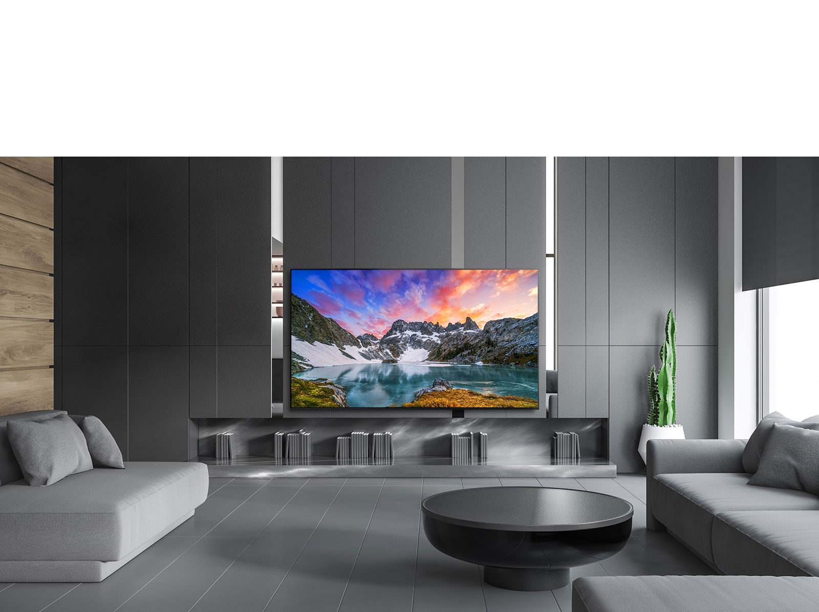 TV showing an eye level view of nature in a luxurious house setting