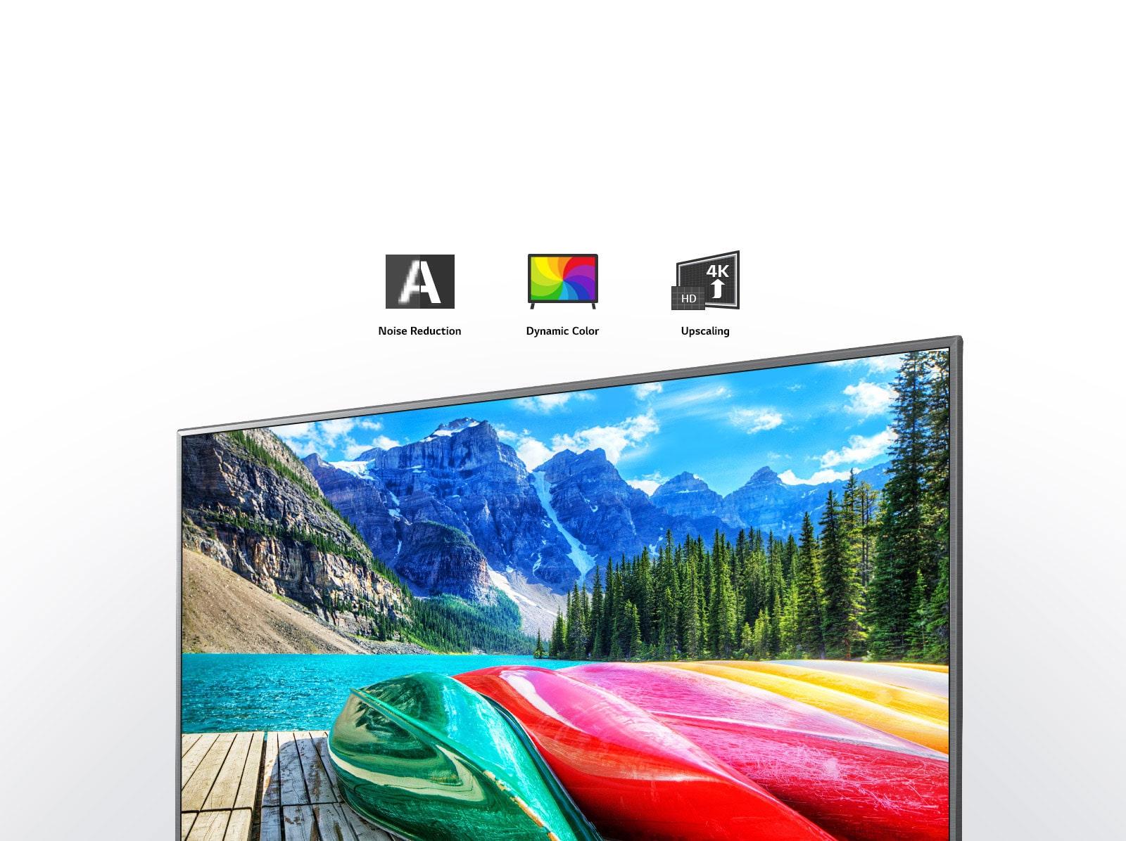 Réduction du bruit, couleurs dynamiques, icônes de mise à l'échelle et écran de télévision montrant une vue panoramique des montagnes, de la forêt et d'un lac.