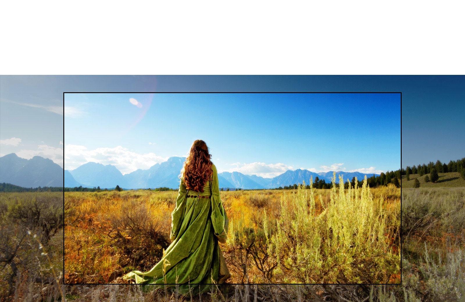 Un écran de télévision montrant une scène d'un film fantastique avec une femme debout dans les champs face aux montagnes.