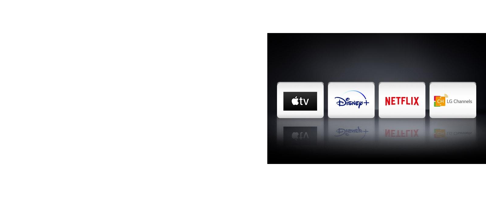 Quatre logos d'applications affichés de gauche à droite: Apple TV, Disney +, Netflix et LG Channels.