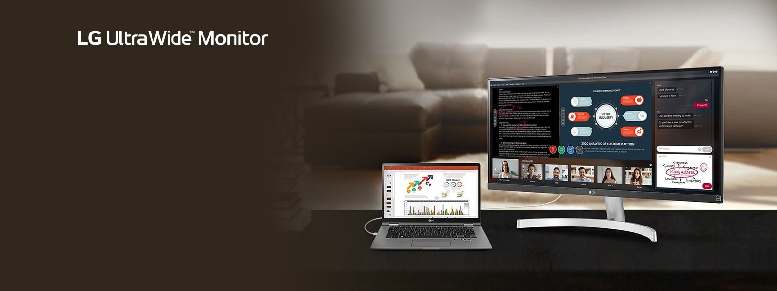 The image shows the LG UltraWide™ Monitor product with the wide screen splitted to 4 parts for an ongoing Webinar, consisting of a text document to discuss, a PowerPoint slide, 5 videos of each of 5 participants, and the chatting screen with an diagram drawing image to send.
