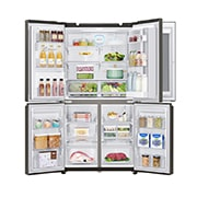 LG InstaView Door-in-Door™, Four Door Refrigerator, 889L Gross Capacity with HygieneFRESH+™, Black Stainless Color, GRX-334DPB, thumbnail 3