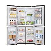 LG InstaView Door-in-Door™, Four Door Refrigerator, 889L Gross Capacity with HygieneFRESH+™, Black Stainless Color, GRX-334DPB, thumbnail 4