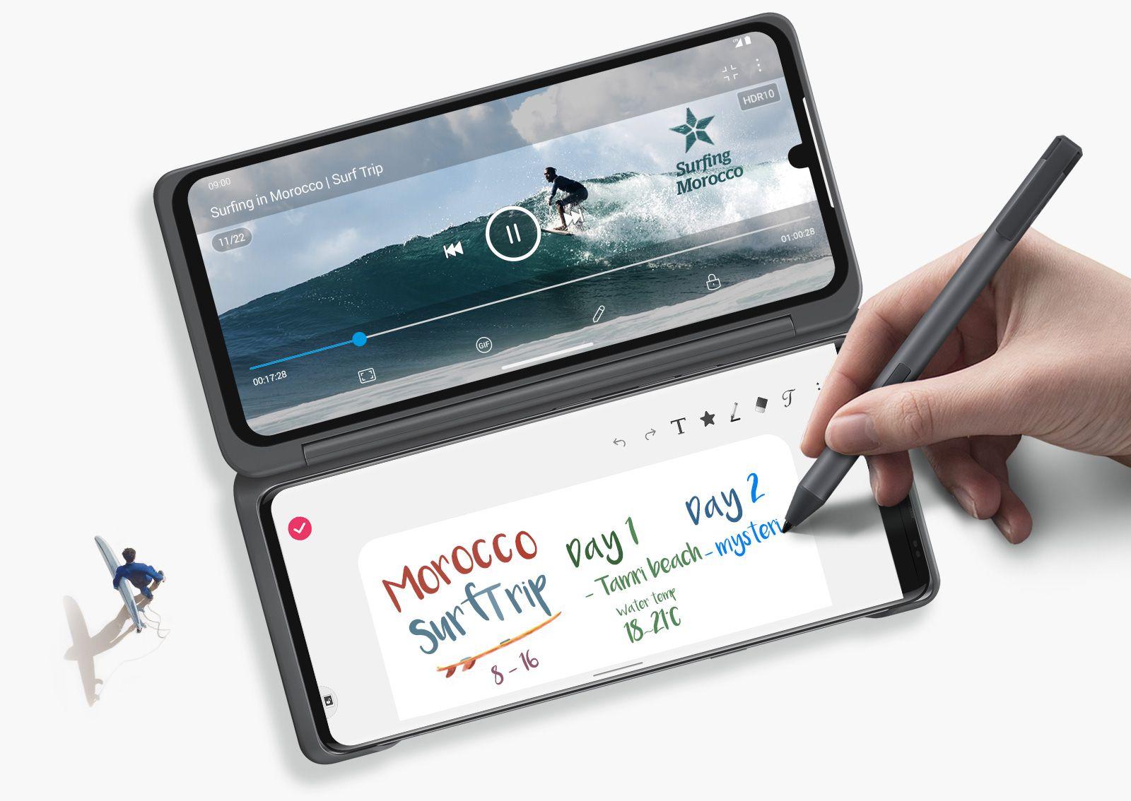 Viename dvigubo ekrano ekrane leidžiamas vaizdo įrašas, o kitame rašomos pastabos.