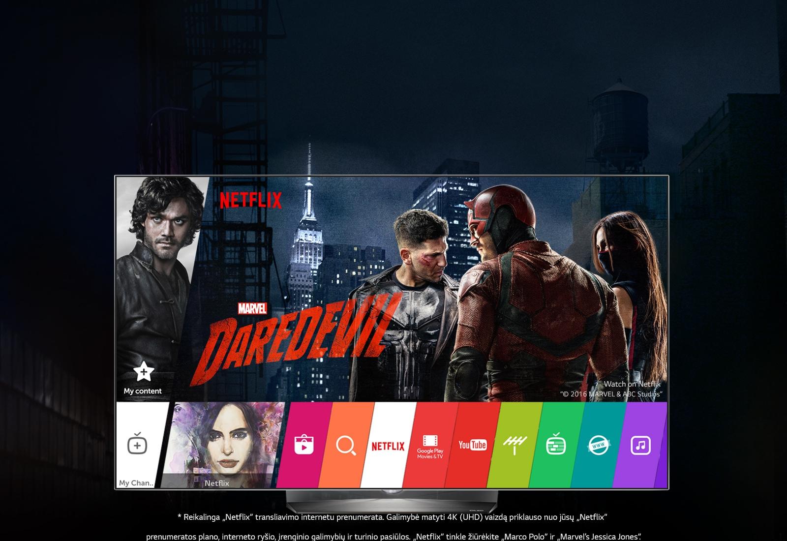 "LG IŠSKIRTINIO STILIAUS OLED TELEVIZORIUS idealiai tinka ""Netflix"""