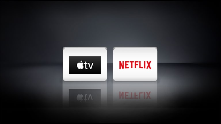 The Apple logo and the Netflix logo appear on a black background.